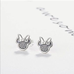 Minnie Mouse Silver Stud Earrings
